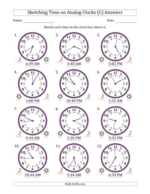 The Sketching Time on Analog Clocks in 1 Minute Intervals (C) Math Worksheet Page 2