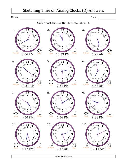 The Sketching Time on Analog Clocks in 1 Minute Intervals (D) Math Worksheet Page 2