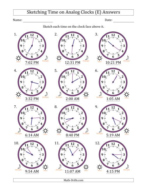 The Sketching 12 Hour Time on Analog Clocks in 1 Minute Intervals (12 Clocks) (E) Math Worksheet Page 2