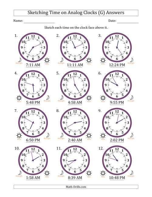 The Sketching Time on Analog Clocks in 1 Minute Intervals (G) Math Worksheet Page 2