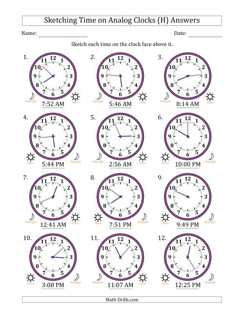 The Sketching 12 Hour Time on Analog Clocks in 1 Minute Intervals (12 Clocks) (H) Math Worksheet Page 2