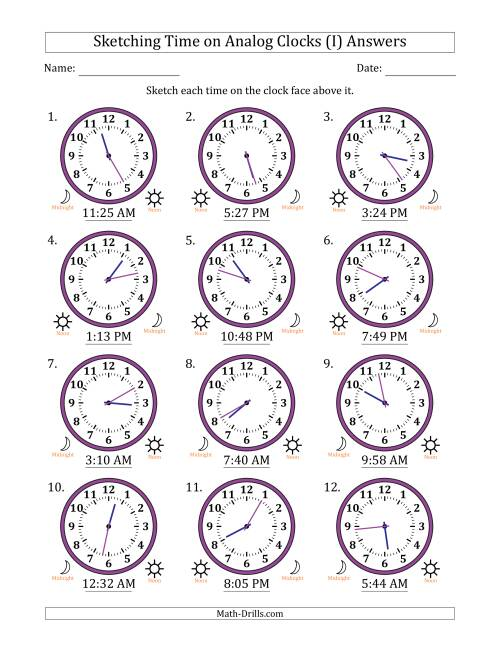 The Sketching Time on Analog Clocks in 1 Minute Intervals (I) Math Worksheet Page 2