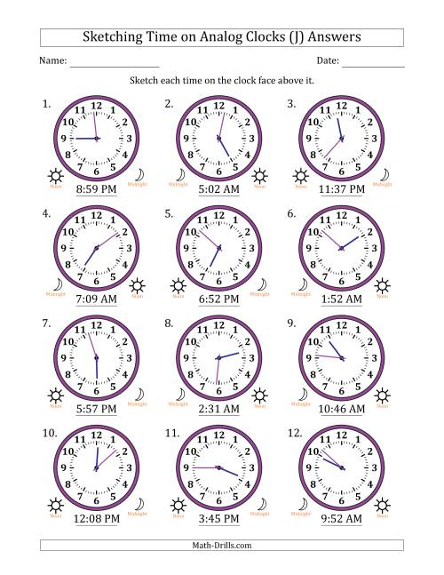 The Sketching 12 Hour Time on Analog Clocks in 1 Minute Intervals (12 Clocks) (J) Math Worksheet Page 2