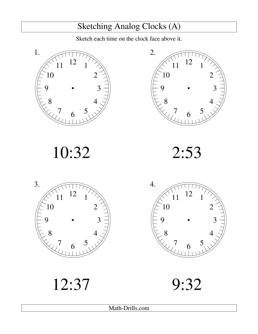 The Sketching Time on Analog Clocks in 1 Minute Intervals (LP) Math Worksheet
