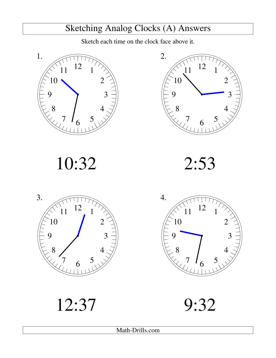 The Sketching Time on Analog Clocks in 1 Minute Intervals (LP) Math Worksheet Page 2