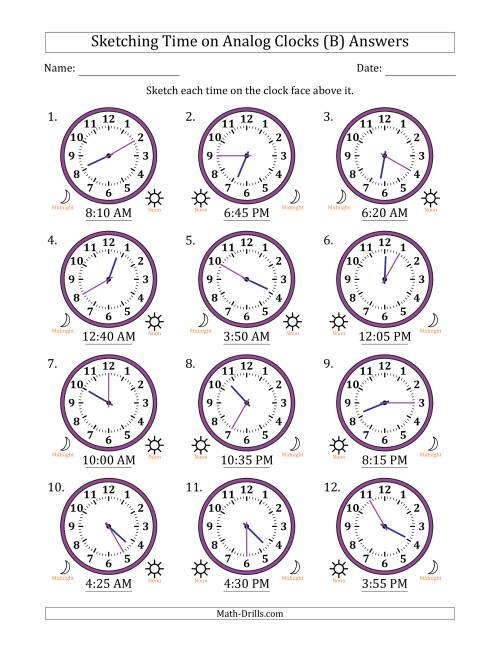 The Sketching Time on Analog Clocks in 5 Minute Intervals (B) Math Worksheet Page 2
