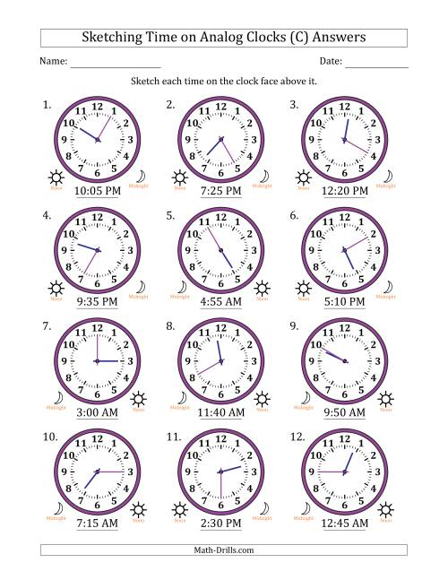 The Sketching Time on Analog Clocks in 5 Minute Intervals (C) Math Worksheet Page 2