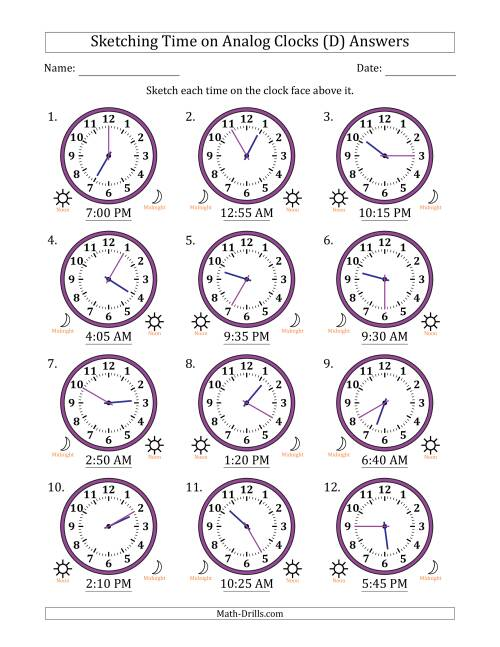 The Sketching Time on Analog Clocks in 5 Minute Intervals (D) Math Worksheet Page 2