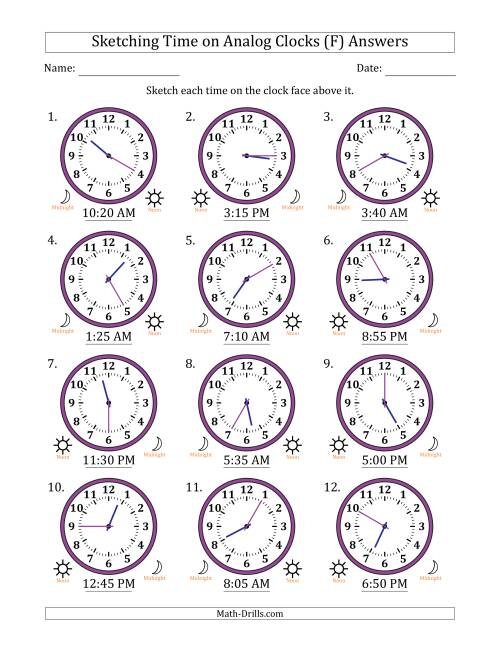 The Sketching Time on Analog Clocks in 5 Minute Intervals (F) Math Worksheet Page 2