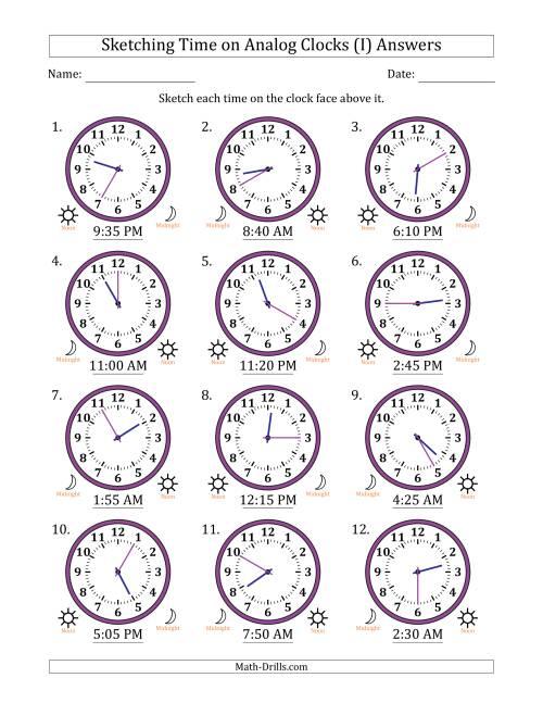 The Sketching Time on Analog Clocks in 5 Minute Intervals (I) Math Worksheet Page 2