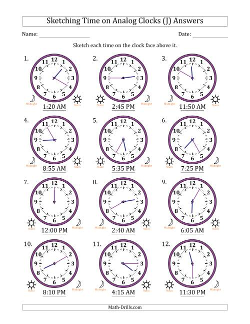 The Sketching 12 Hour Time on Analog Clocks in 5 Minute Intervals (12 Clocks) (J) Math Worksheet Page 2