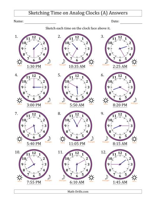 The Sketching 12 Hour Time on Analog Clocks in 5 Minute Intervals (12 Clocks) (All) Math Worksheet Page 2