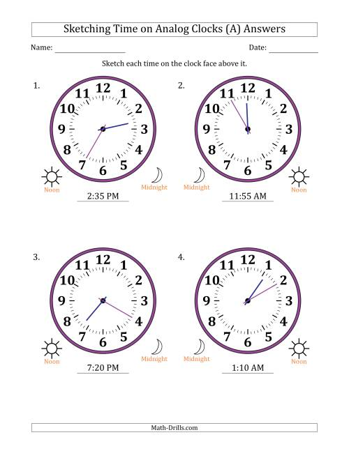 The Sketching 12 Hour Time on Analog Clocks in 5 Minute Intervals (4 Large Clocks) (A) Math Worksheet Page 2