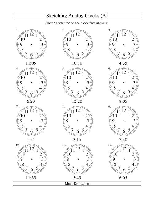 The Sketching Time on Analog Clocks in 5 Minute Intervals (Old) Math Worksheet