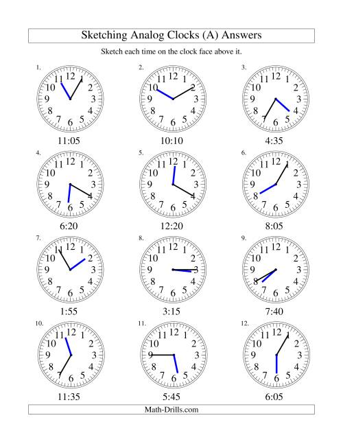 The Sketching Time on Analog Clocks in 5 Minute Intervals (Old) Math Worksheet Page 2