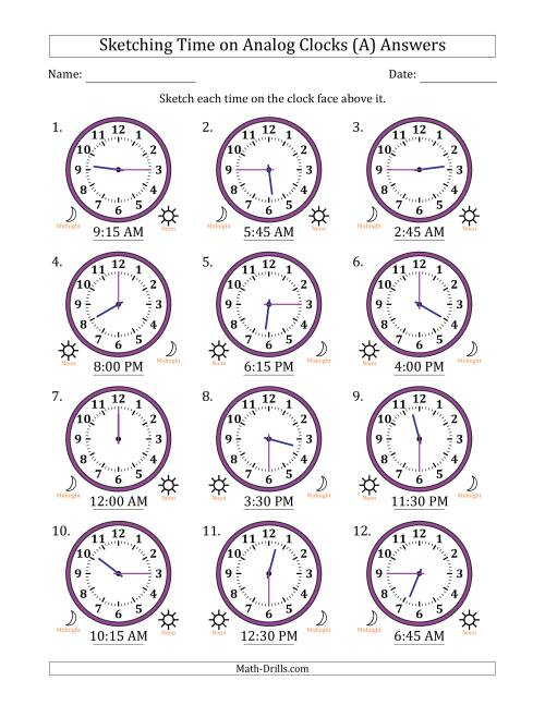 The Sketching Time on Analog Clocks in 15 Minute Intervals (A) Math Worksheet Page 2