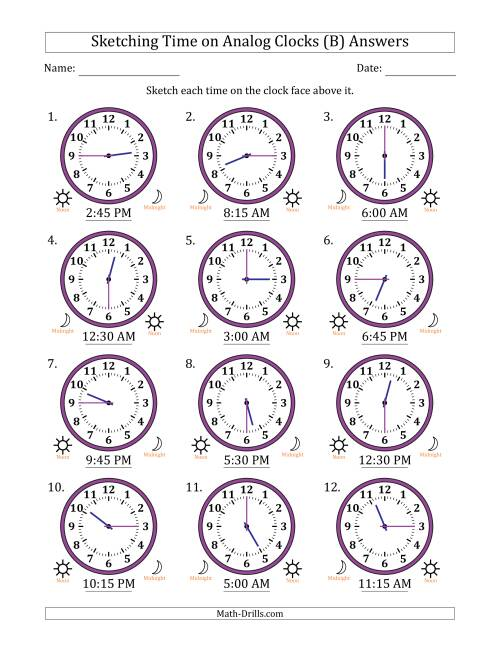 The Sketching Time on Analog Clocks in 15 Minute Intervals (B) Math Worksheet Page 2