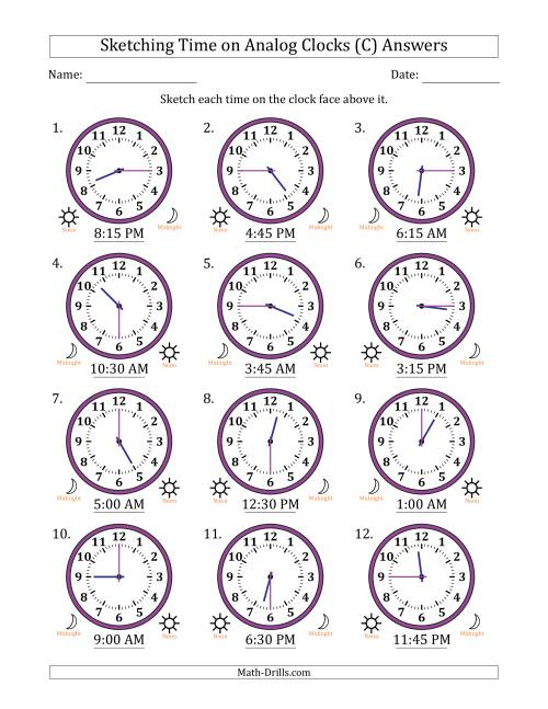 The Sketching Time on Analog Clocks in 15 Minute Intervals (C) Math Worksheet Page 2