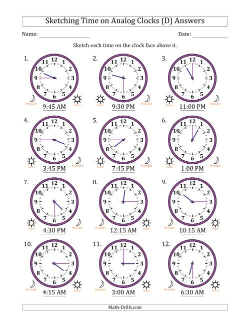 The Sketching Time on Analog Clocks in 15 Minute Intervals (D) Math Worksheet Page 2