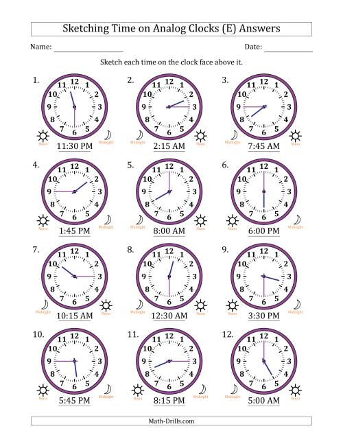 The Sketching Time on Analog Clocks in 15 Minute Intervals (E) Math Worksheet Page 2