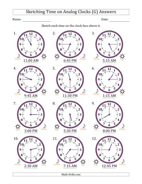 The Sketching Time on Analog Clocks in 15 Minute Intervals (G) Math Worksheet Page 2