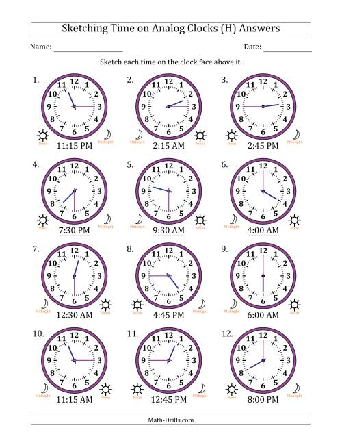The Sketching 12 Hour Time on Analog Clocks in 15 Minute Intervals (12 Clocks) (H) Math Worksheet Page 2