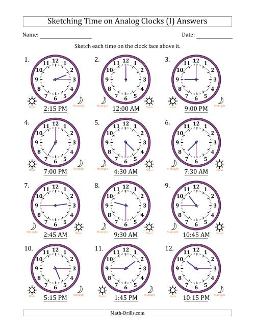 The Sketching Time on Analog Clocks in 15 Minute Intervals (I) Math Worksheet Page 2