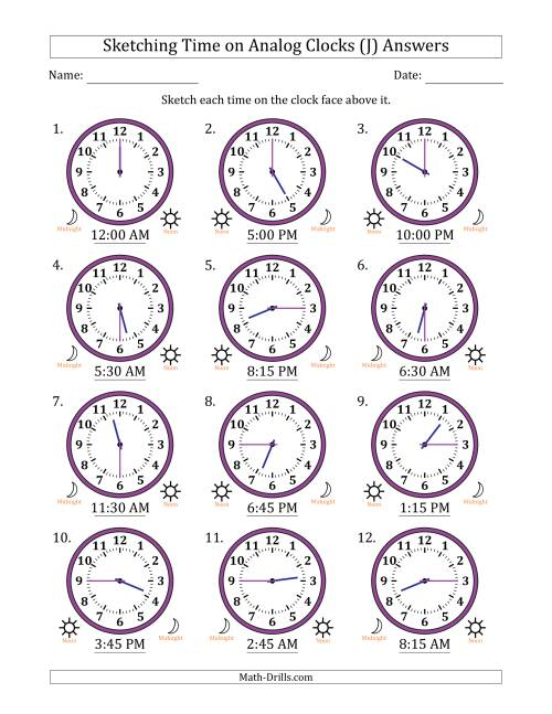 The Sketching Time on Analog Clocks in 15 Minute Intervals (J) Math Worksheet Page 2