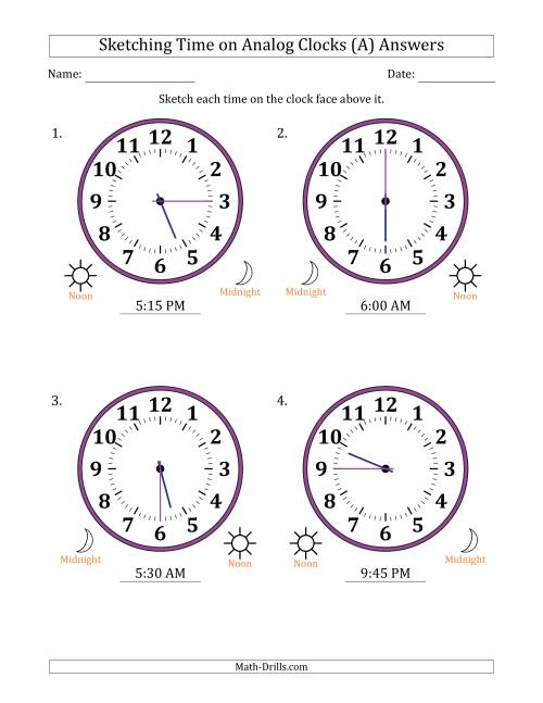 The Sketching 12 Hour Time on Analog Clocks in 15 Minute Intervals (4 Large Clocks) (A) Math Worksheet Page 2