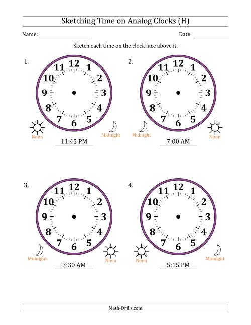 The Sketching 12 Hour Time on Analog Clocks in 15 Minute Intervals (4 Large Clocks) (H) Math Worksheet