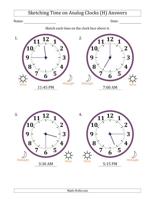 The Sketching 12 Hour Time on Analog Clocks in 15 Minute Intervals (4 Large Clocks) (H) Math Worksheet Page 2