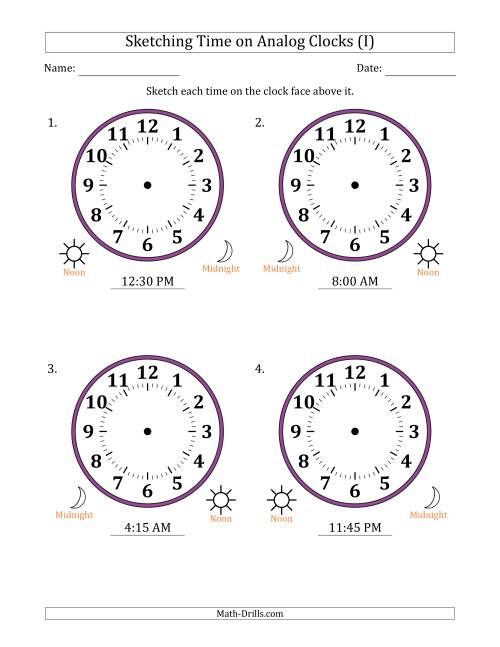 The Sketching 12 Hour Time on Analog Clocks in 15 Minute Intervals (4 Large Clocks) (I) Math Worksheet