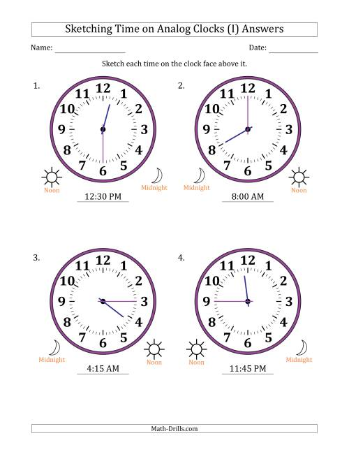 The Sketching 12 Hour Time on Analog Clocks in 15 Minute Intervals (4 Large Clocks) (I) Math Worksheet Page 2