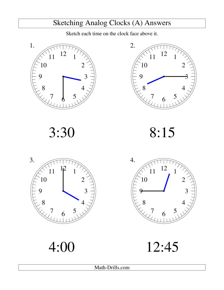 The Sketching Time on Analog Clocks in 15 Minute Intervals (LP) Math Worksheet Page 2