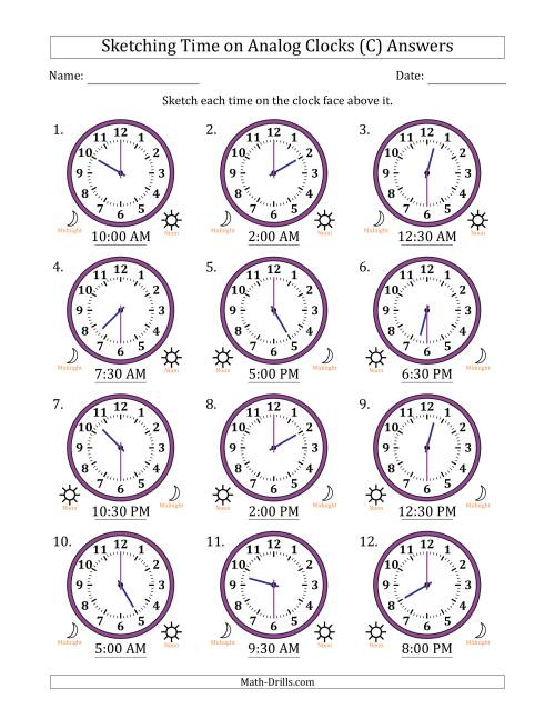 The Sketching Time on Analog Clocks in 30 Minute Intervals (C) Math Worksheet Page 2