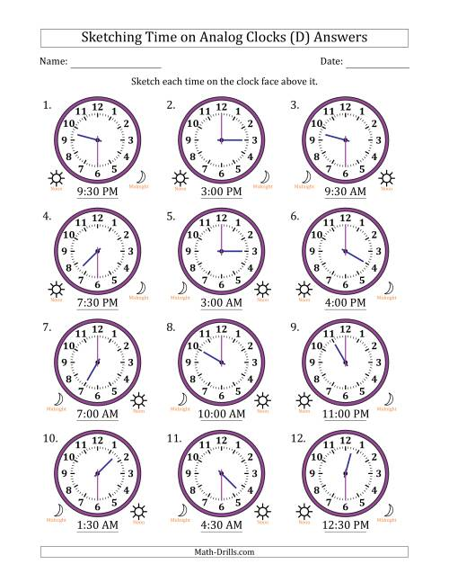 The Sketching Time on Analog Clocks in 30 Minute Intervals (D) Math Worksheet Page 2