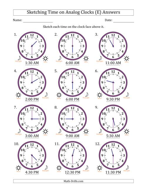 The Sketching 12 Hour Time on Analog Clocks in 30 Minute Intervals (12 Clocks) (E) Math Worksheet Page 2