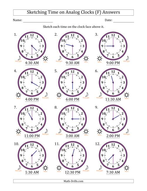 The Sketching 12 Hour Time on Analog Clocks in 30 Minute Intervals (12 Clocks) (F) Math Worksheet Page 2