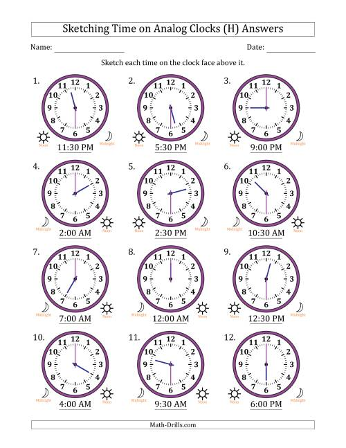 The Sketching Time on Analog Clocks in 30 Minute Intervals (H) Math Worksheet Page 2