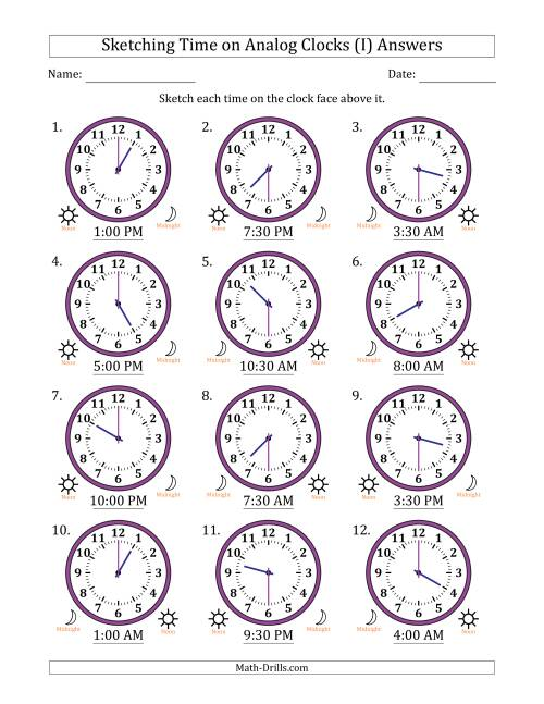 The Sketching Time on Analog Clocks in 30 Minute Intervals (I) Math Worksheet Page 2