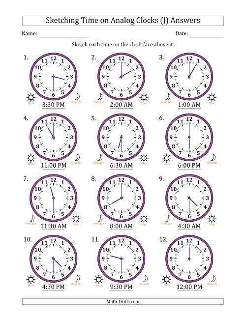 The Sketching Time on Analog Clocks in 30 Minute Intervals (J) Math Worksheet Page 2