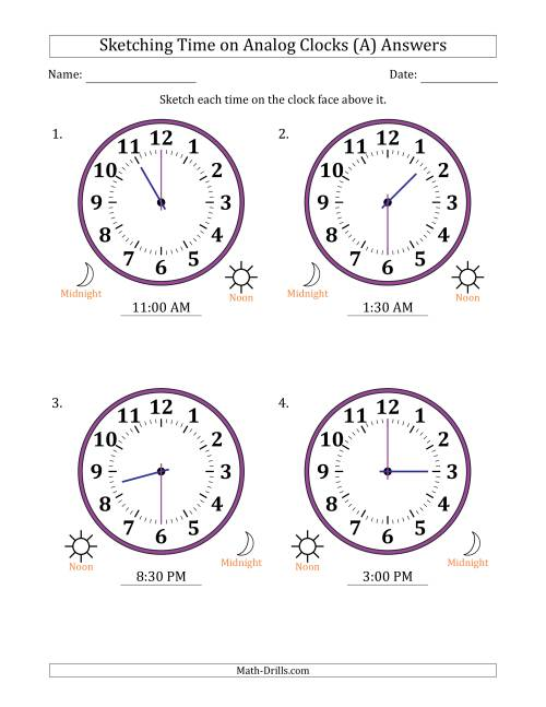 The Sketching 12 Hour Time on Analog Clocks in 30 Minute Intervals (4 Large Clocks) (A) Math Worksheet Page 2
