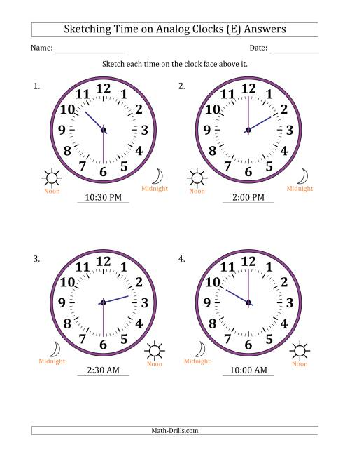 The Sketching 12 Hour Time on Analog Clocks in 30 Minute Intervals (4 Large Clocks) (E) Math Worksheet Page 2