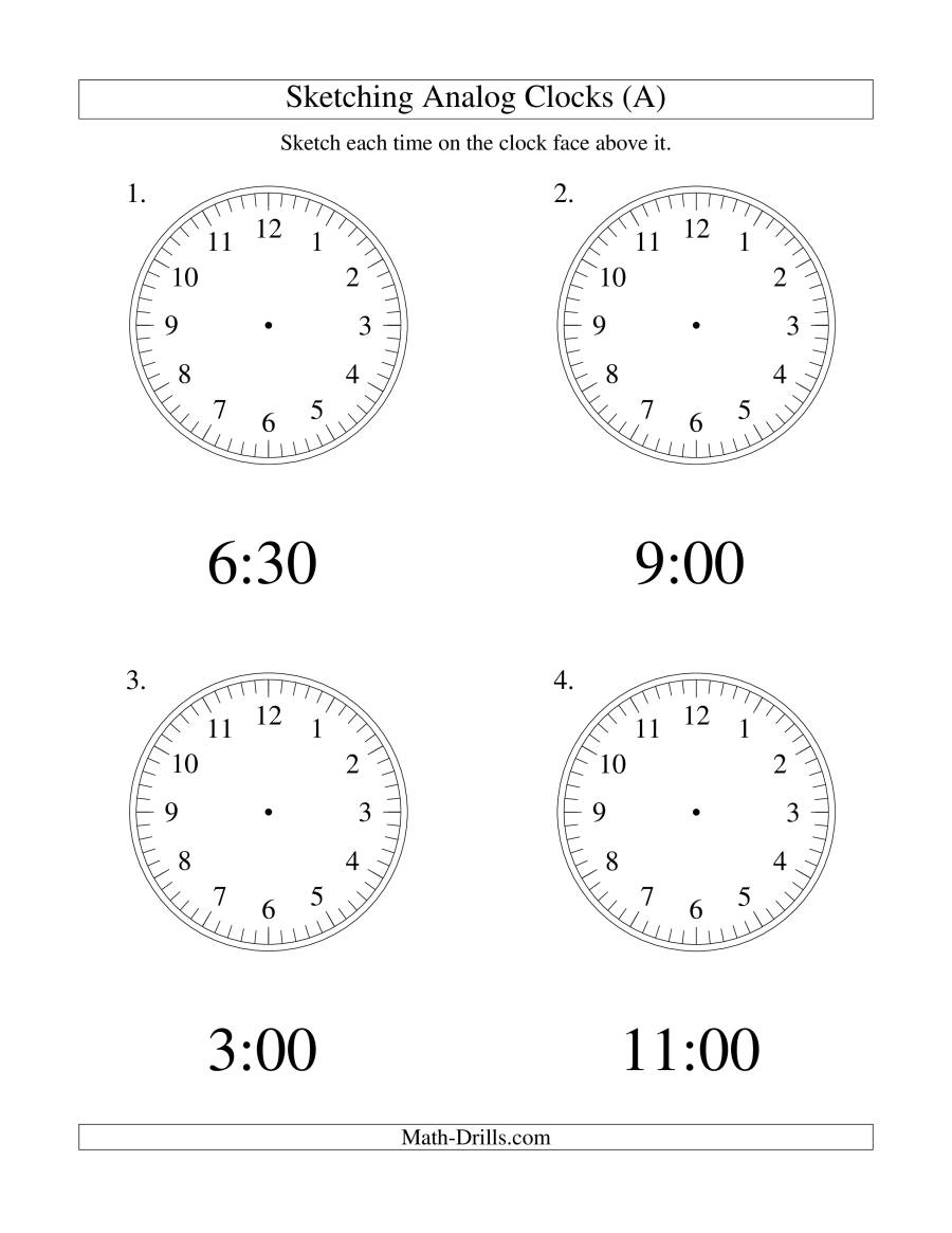 The Sketching Time on Analog Clocks in 30 Minute Intervals (LP) Math Worksheet