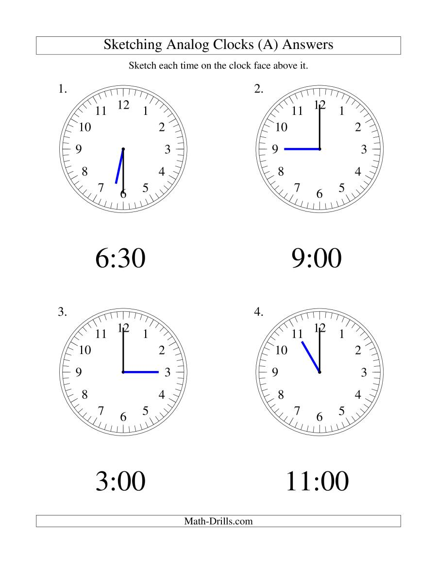 The Sketching Time on Analog Clocks in 30 Minute Intervals (LP) Math Worksheet Page 2