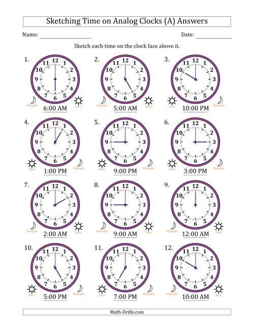 The Sketching Time on Analog Clocks in One Hour Intervals (A) Math Worksheet Page 2