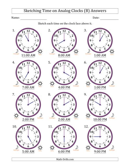The Sketching Time on Analog Clocks in One Hour Intervals (B) Math Worksheet Page 2