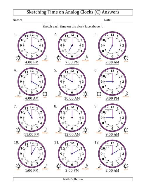The Sketching Time on Analog Clocks in One Hour Intervals (C) Math Worksheet Page 2