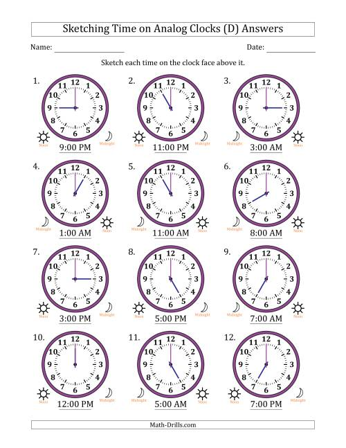 The Sketching Time on Analog Clocks in One Hour Intervals (D) Math Worksheet Page 2