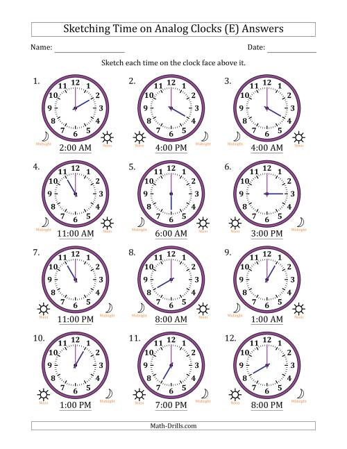 The Sketching Time on Analog Clocks in One Hour Intervals (E) Math Worksheet Page 2